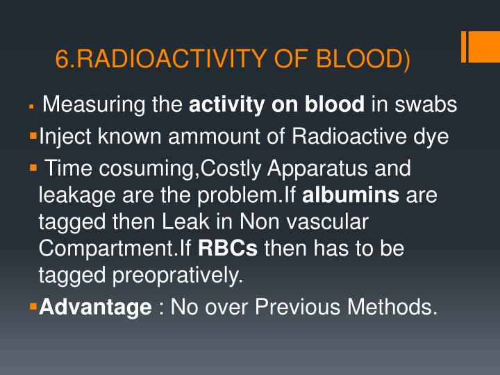 6.RADIOACTIVITY OF BLOOD)