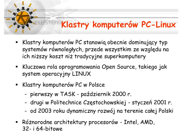 Klastry komputer w pc linux