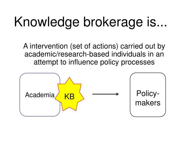 Knowledge brokerage is...
