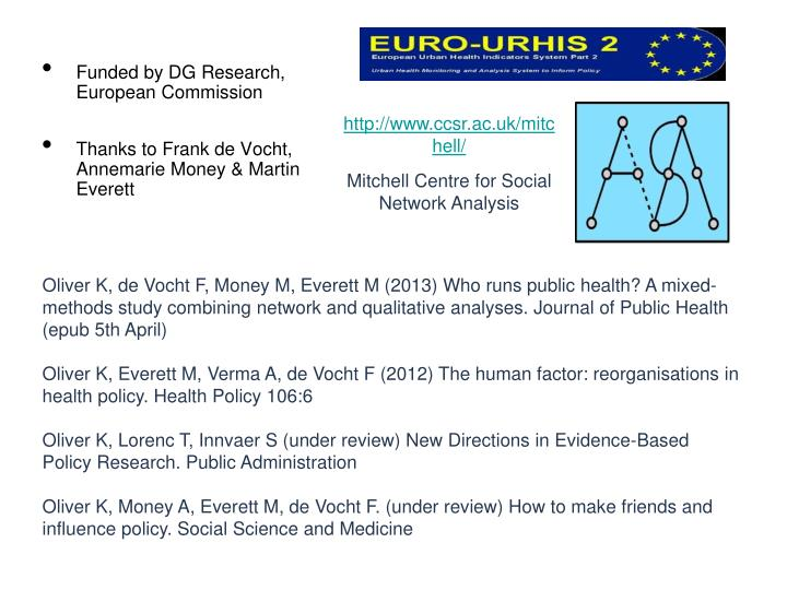 Funded by DG Research, European Commission