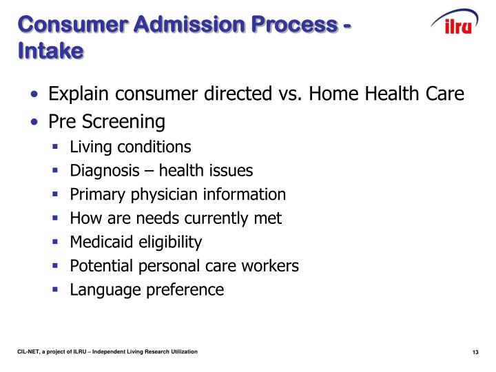 Consumer Admission Process - Intake