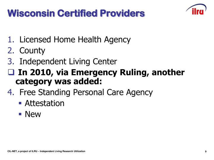 Wisconsin Certified Providers
