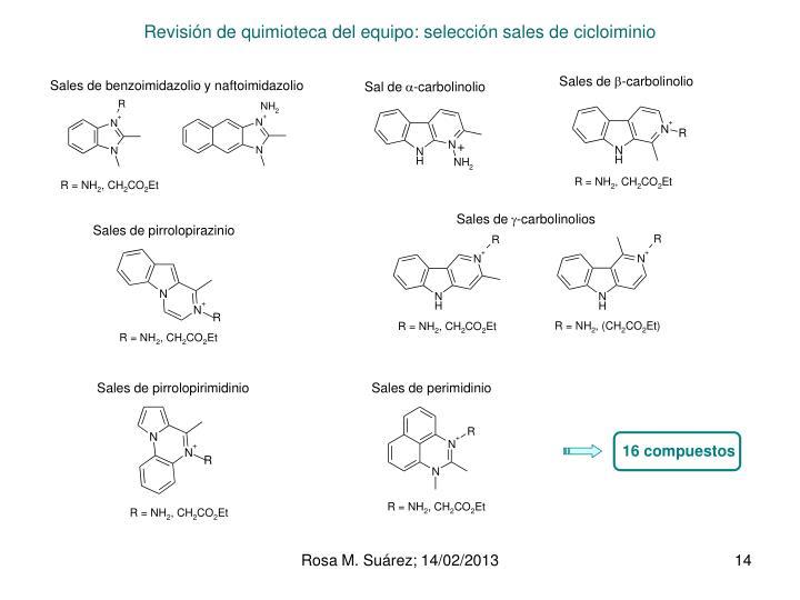 Revisión de quimioteca del equipo: selección sales de cicloiminio