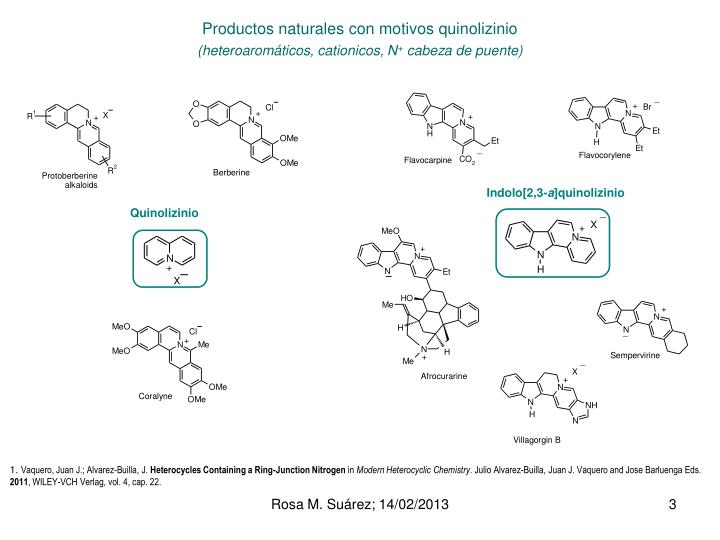 Productos naturales con motivos quinolizinio