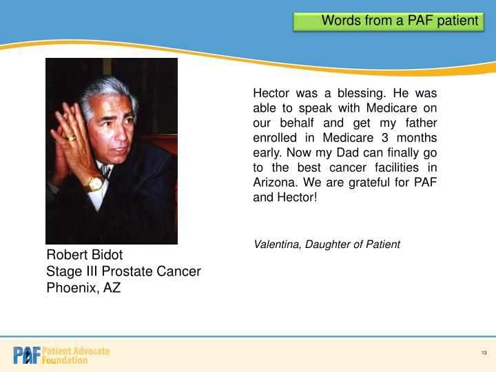 Words from a PAF patient