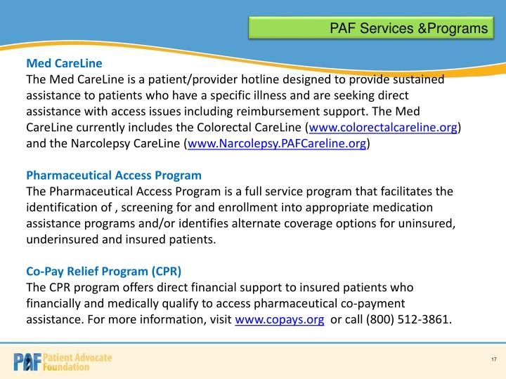 PAF Services &Programs