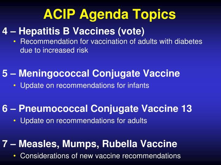 ACIP Agenda Topics