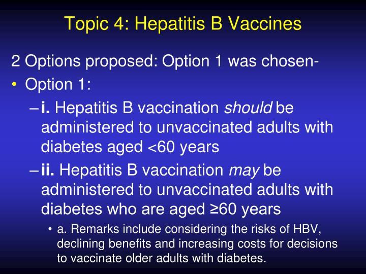 Topic 4: Hepatitis B Vaccines