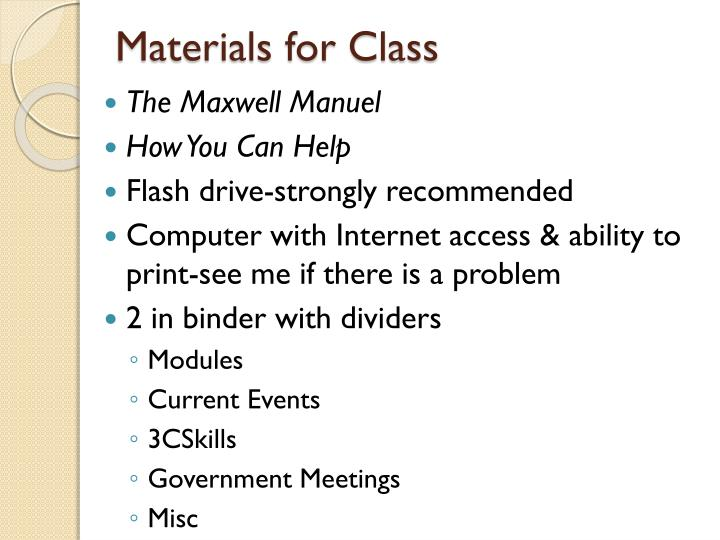 Materials for Class