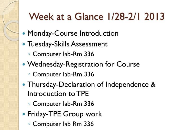 Week at a glance 1 28 2 1 2013