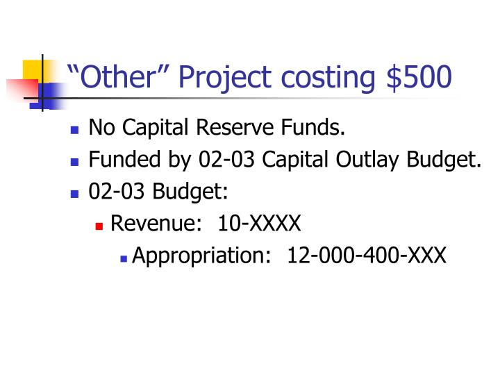 """""""Other"""" Project costing $500"""