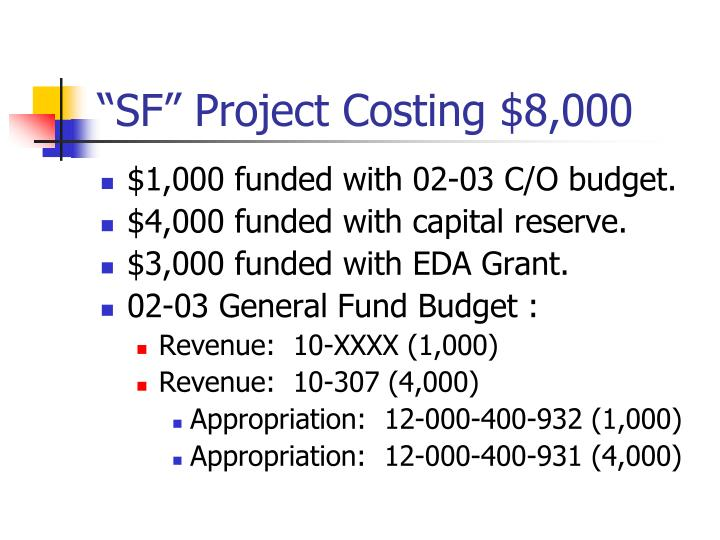 """""""SF"""" Project Costing $8,000"""