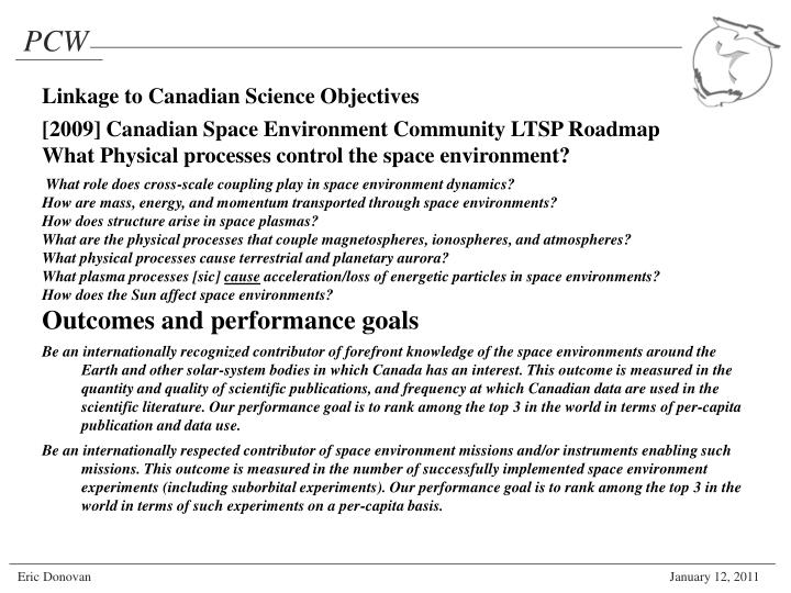 Linkage to Canadian Science Objectives