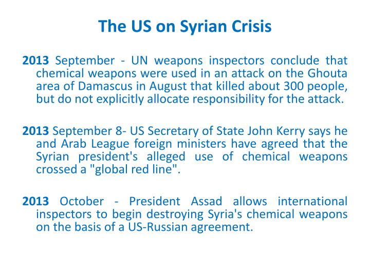 The US on Syrian Crisis