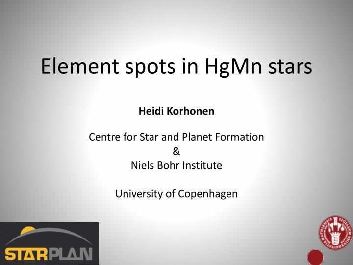 element spots in hgmn stars n.
