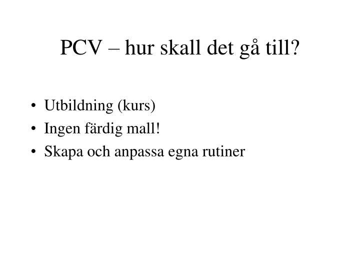 PCV – hur skall det gå till?