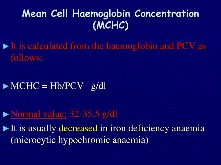 Mean Cell Haemoglobin Concentration (MCHC)