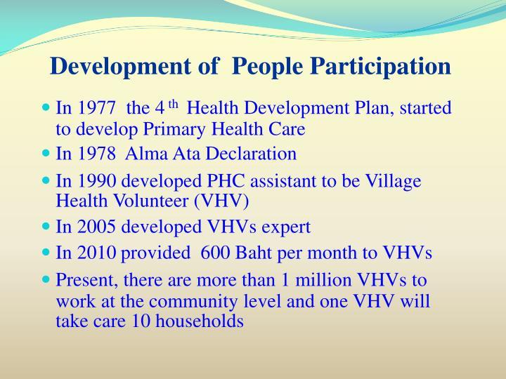Development of  People Participation