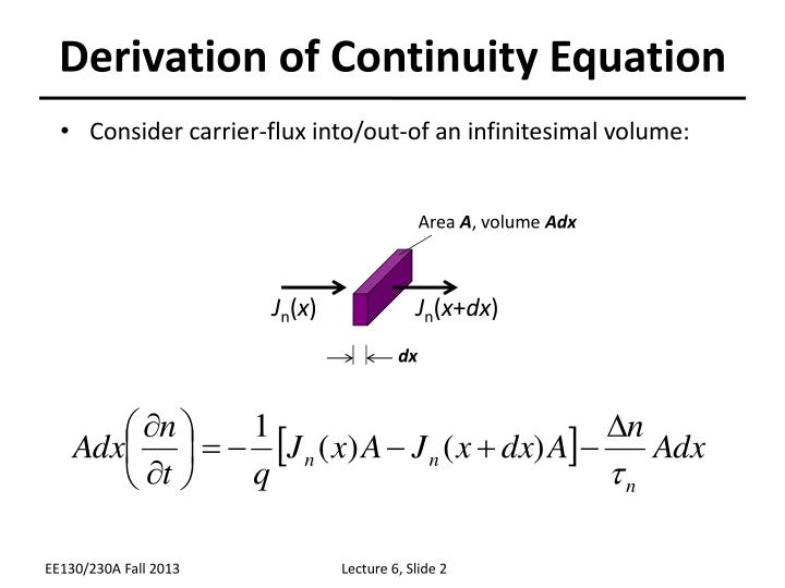 Derivation of continuity equation