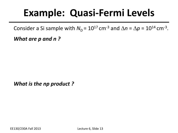 Example:  Quasi-Fermi Levels
