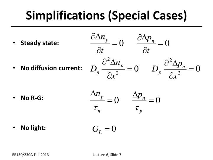 Simplifications (Special Cases)