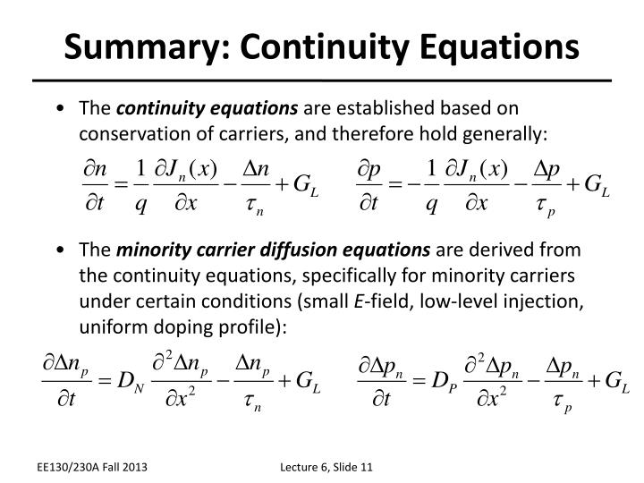 Summary: Continuity Equations