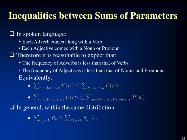 Inequalities between Sums of Parameters