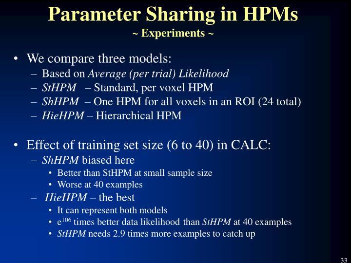 Parameter Sharing in HPMs
