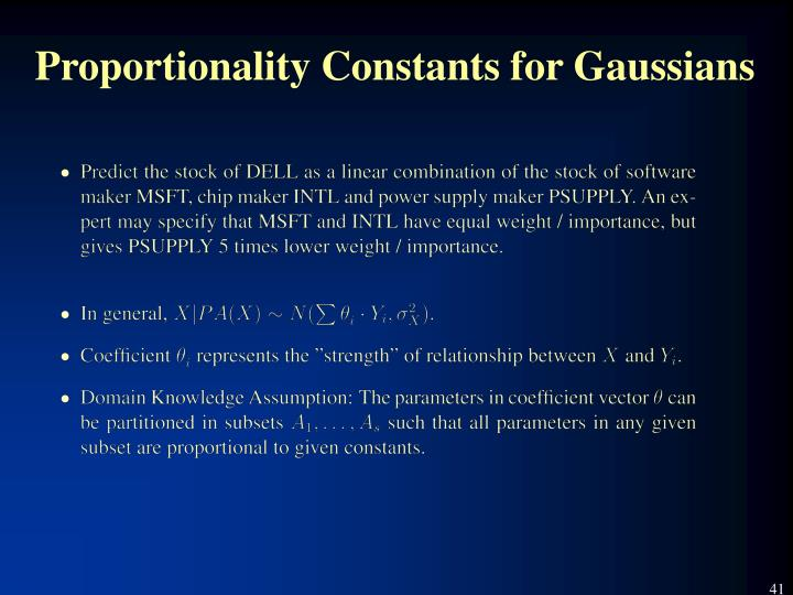 Proportionality Constants for Gaussians