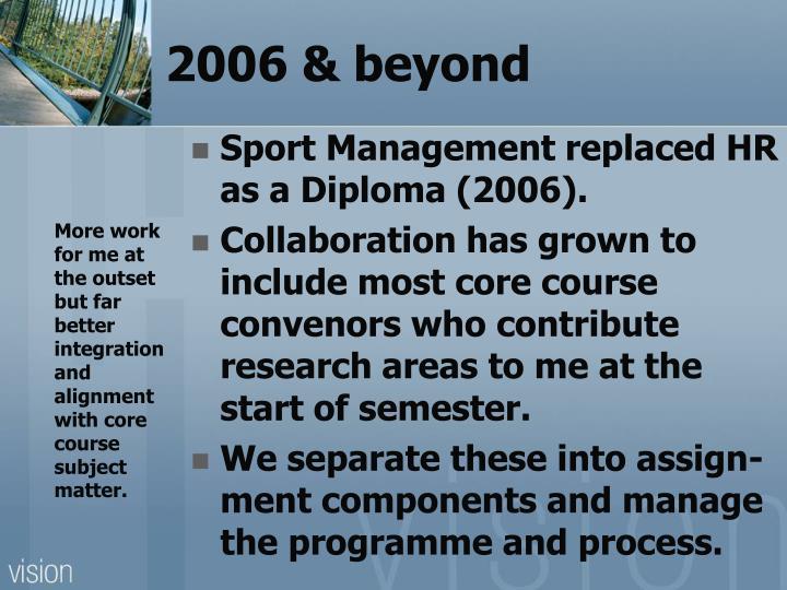 2006 & beyond
