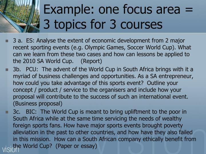 Example: one focus area = 3 topics for 3 courses
