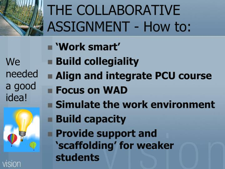 THE COLLABORATIVE ASSIGNMENT - How to: