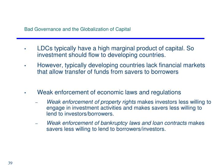 Bad Governance and the Globalization of Capital