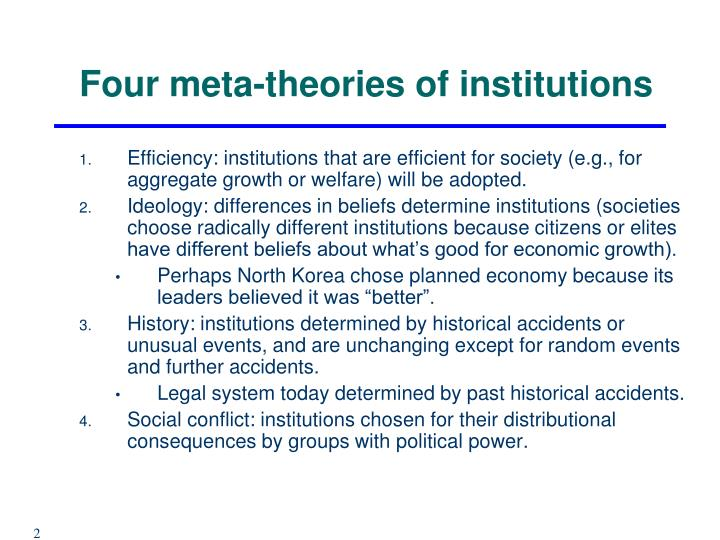Four meta theories of institutions