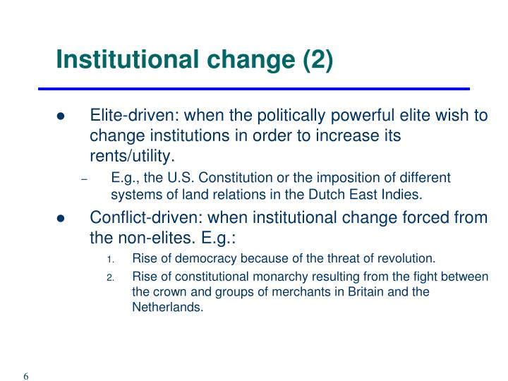Institutional change (2)