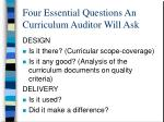 four essential questions an curriculum auditor will ask