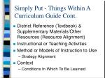 simply put things within a curriculum guide cont