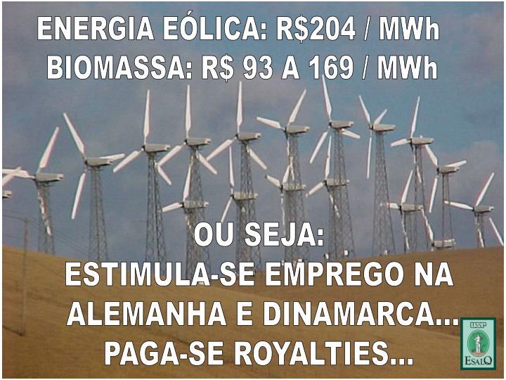 ENERGIA EÓLICA: R$204 / MWh