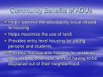 community benefits of adus