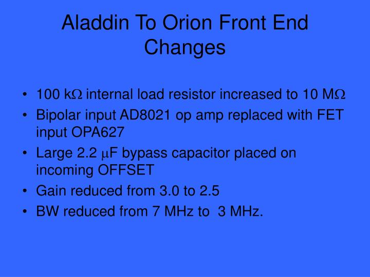 Aladdin To Orion Front End Changes