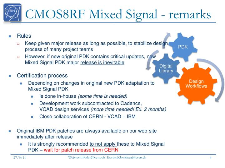 CMOS8RF Mixed Signal - remarks