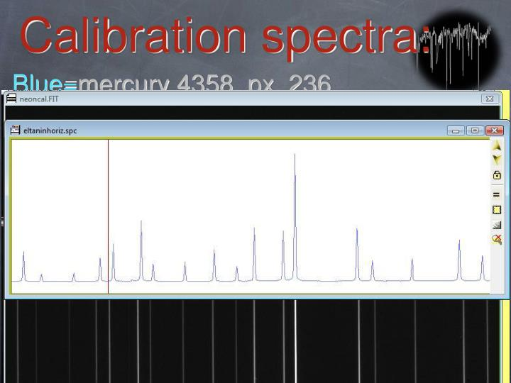 Calibration spectra: