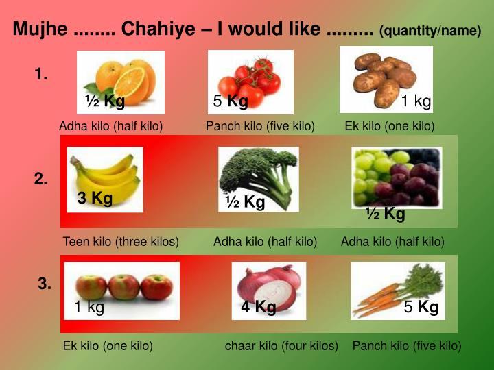 Mujhe ........ Chahiye – I would like .........