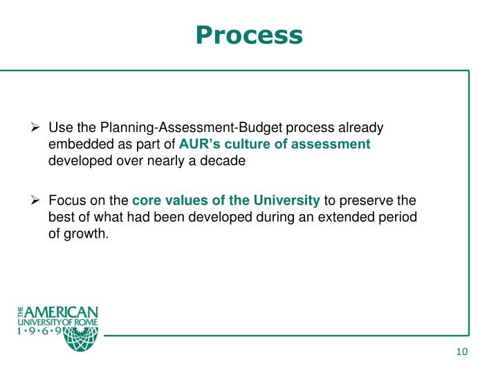 Use the Planning-Assessment-Budget process already embedded as part of
