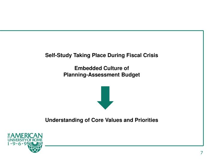 Self-Study Taking Place During Fiscal Crisis