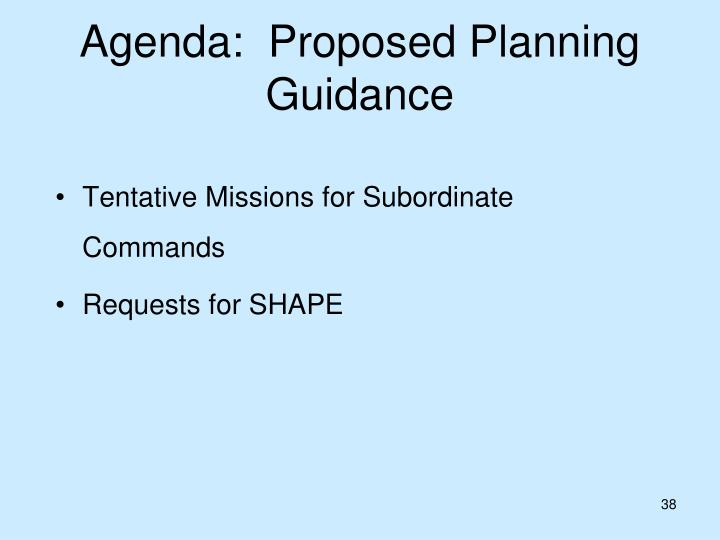 Agenda:  Proposed Planning Guidance