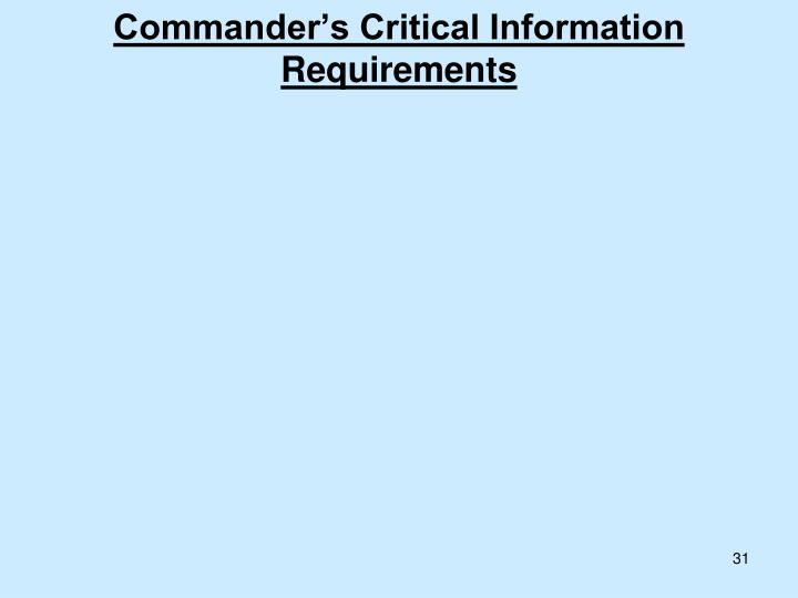 Commander's Critical Information Requirements