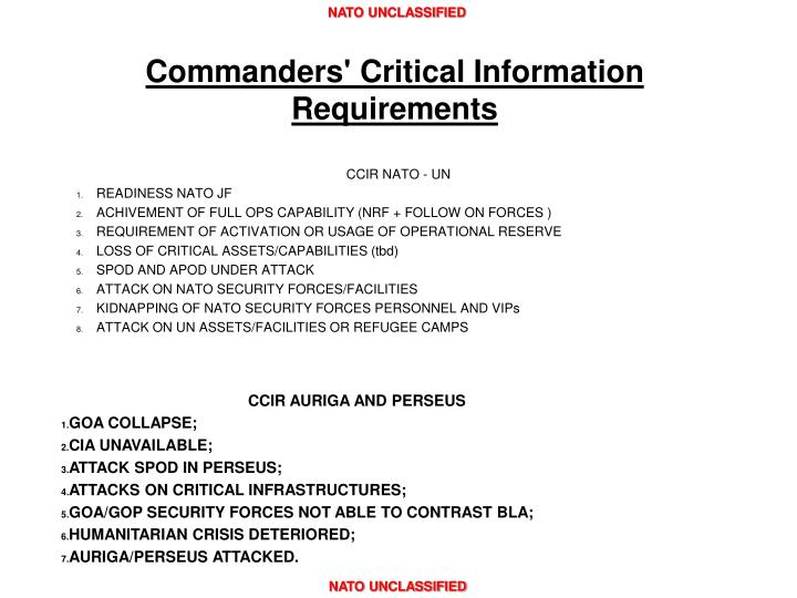 Commanders' Critical Information Requirements