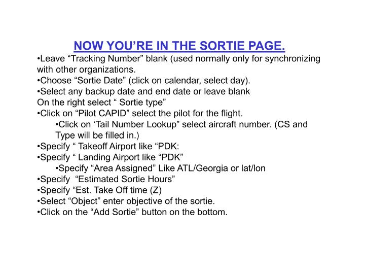 NOW YOU'RE IN THE SORTIE PAGE.