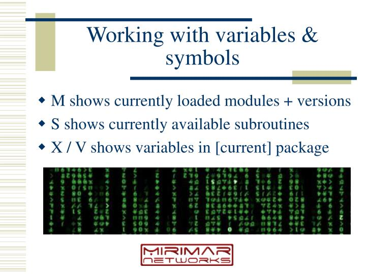 Working with variables & symbols